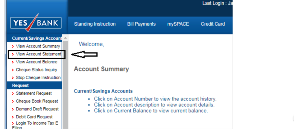 View Account Statement - Yes Bank
