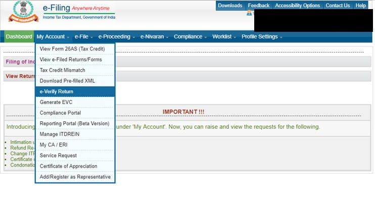 Yes Bank Net Banking – Request e-verification of ITR
