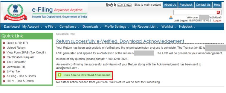 Return successful e-Verified ITR