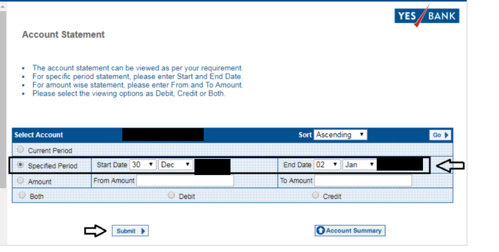 Select Account Statement - Yes Bank