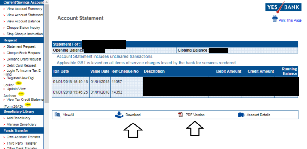 Download Yes Bank Statement