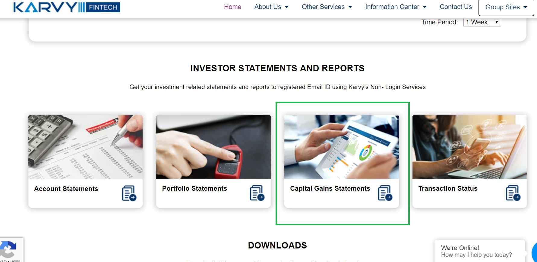 KARVY - Capital Gains Statements Option