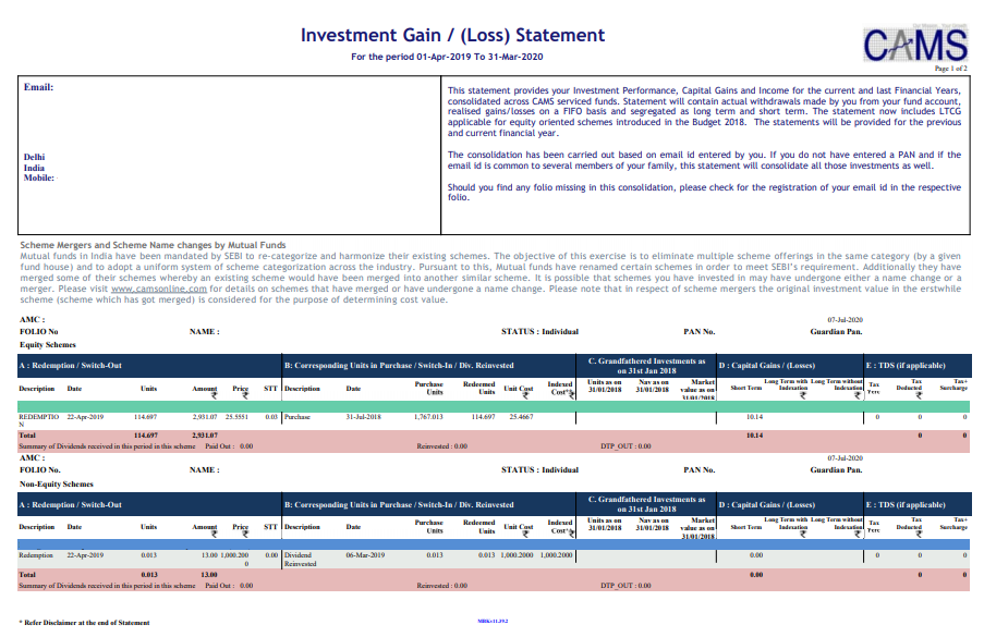CAMS - Capital Gains Account Statement