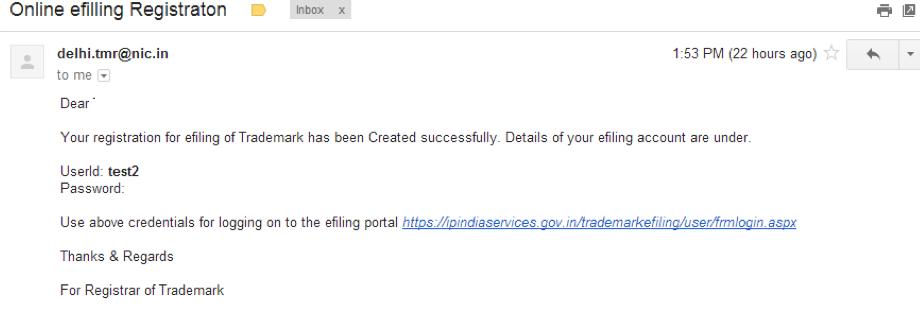 trademark e filing-credential via email