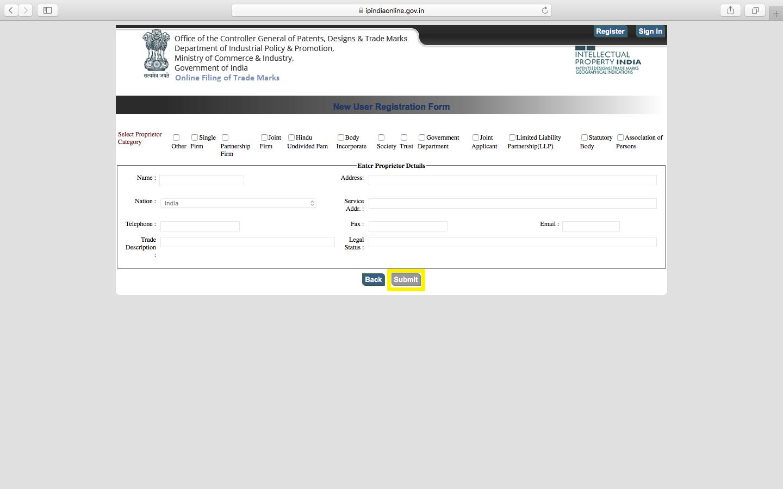 trademark e filing- generate proprietor code