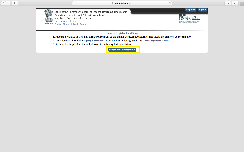 trademark e filing- procure DSC