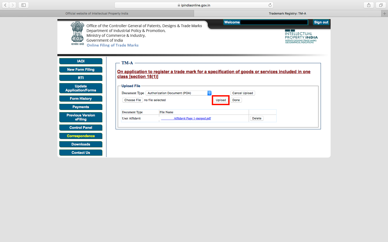 Upload user affidavit