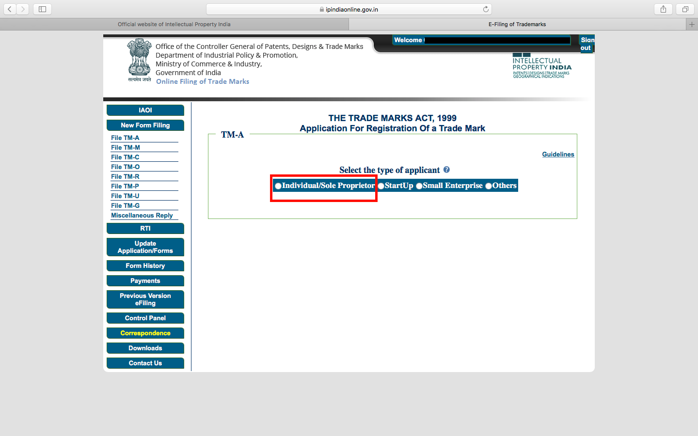 Trademark Application- Type of Applicant