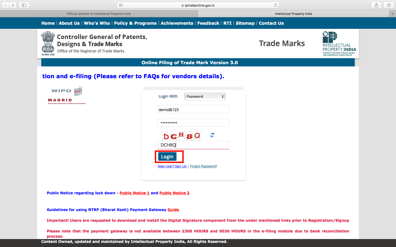 Trademark Application- Login
