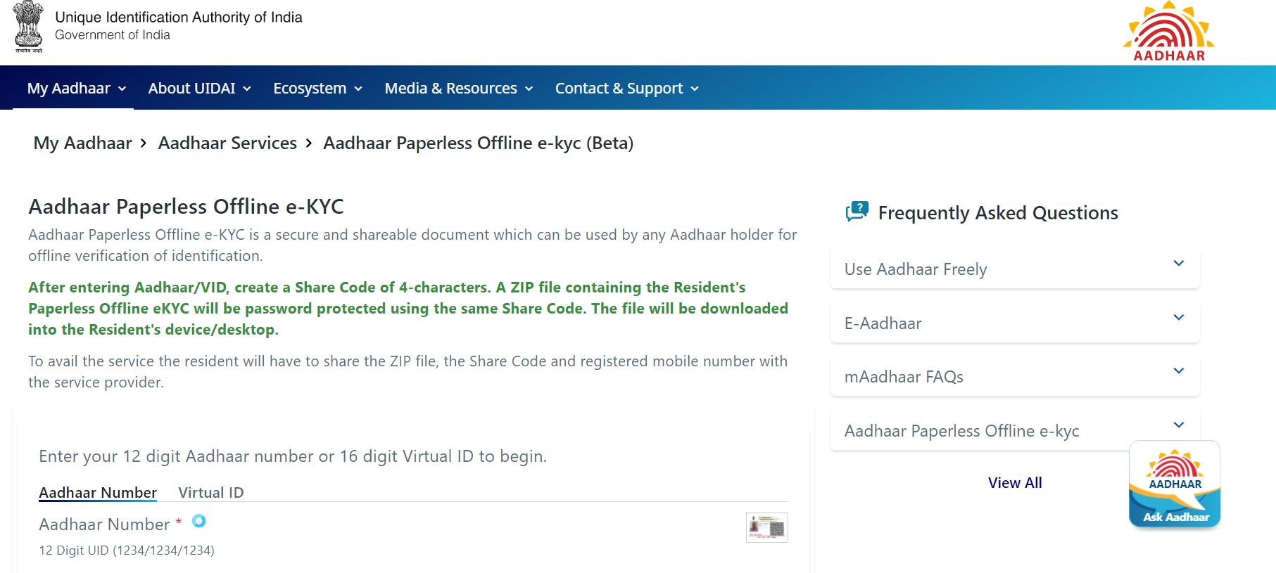 aadhaar paperless offline e-kyc