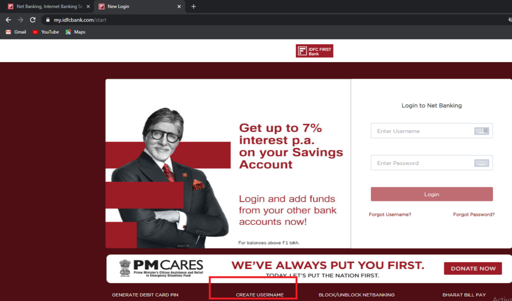 IDFC First Net Banking Registration Page