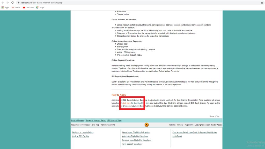IDBI Net banking portal