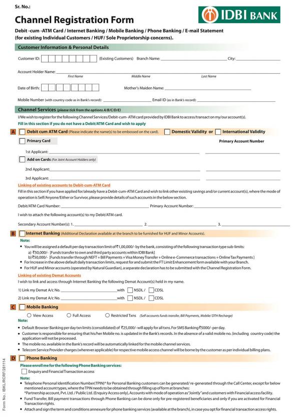 IDBI Registration Form