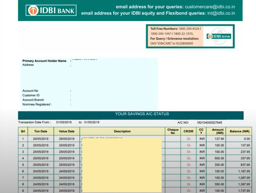 IDBI Bank Statement