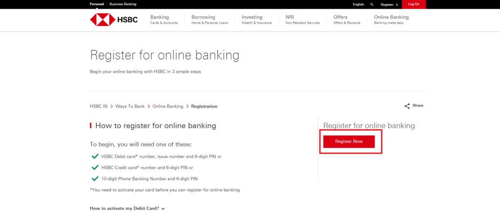 hsbc register net banking