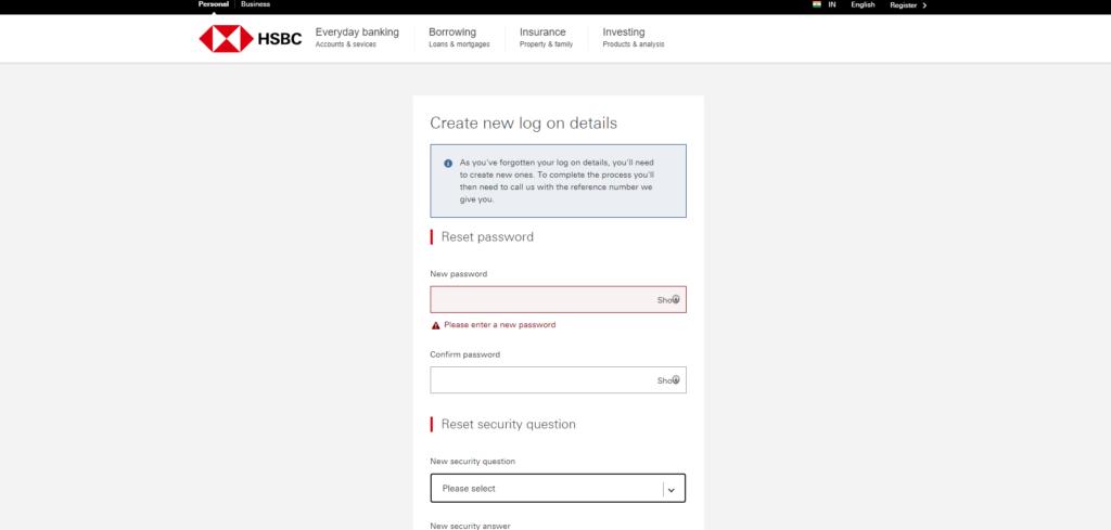hsbc new password