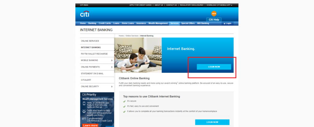 citibank net banking login
