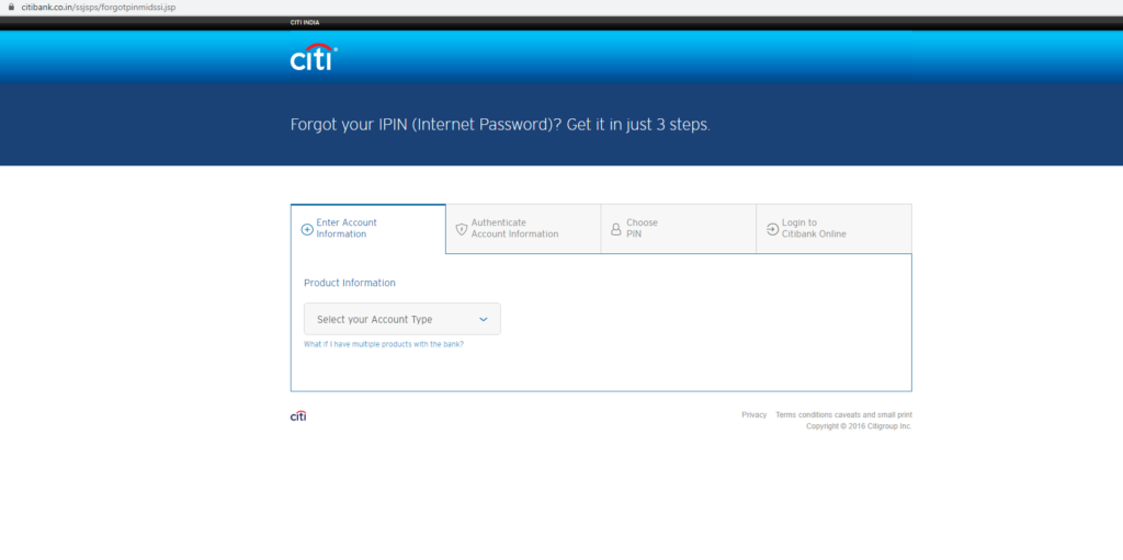 citibank net banking reset password