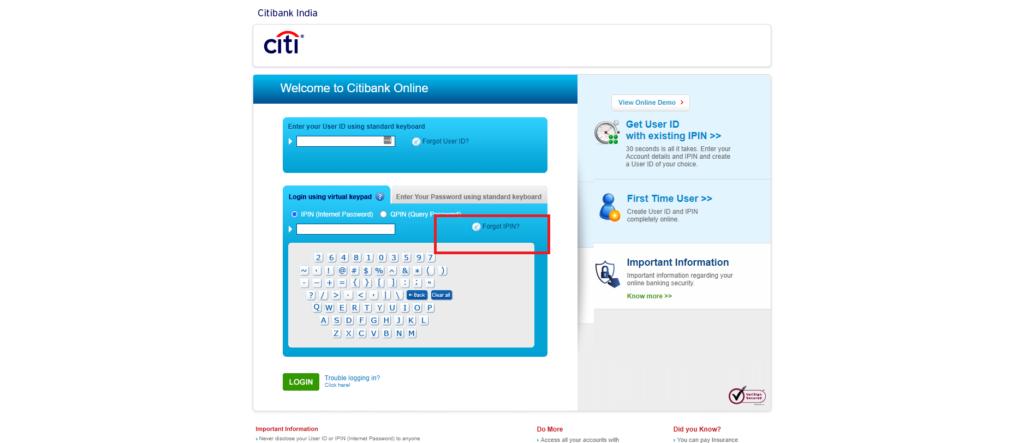 citibank net banking forgot password