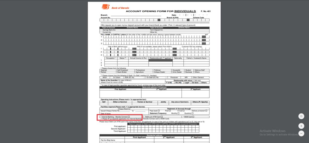 bob net banking form