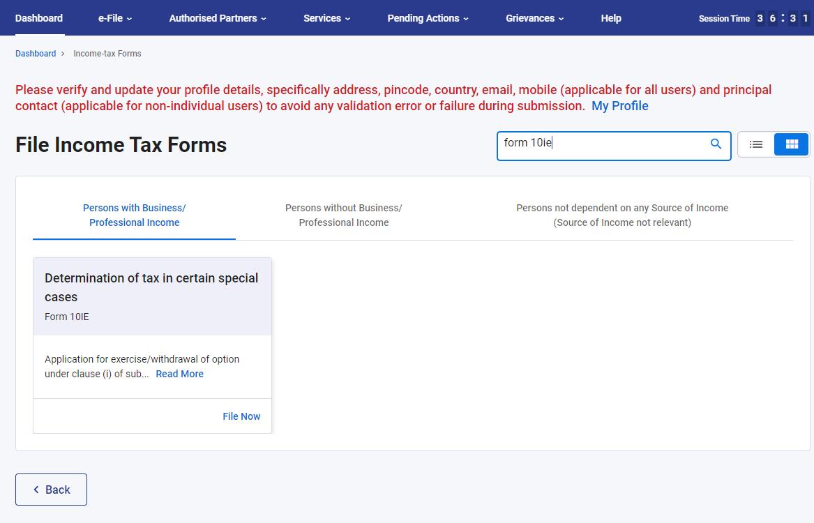 Form 10IE option
