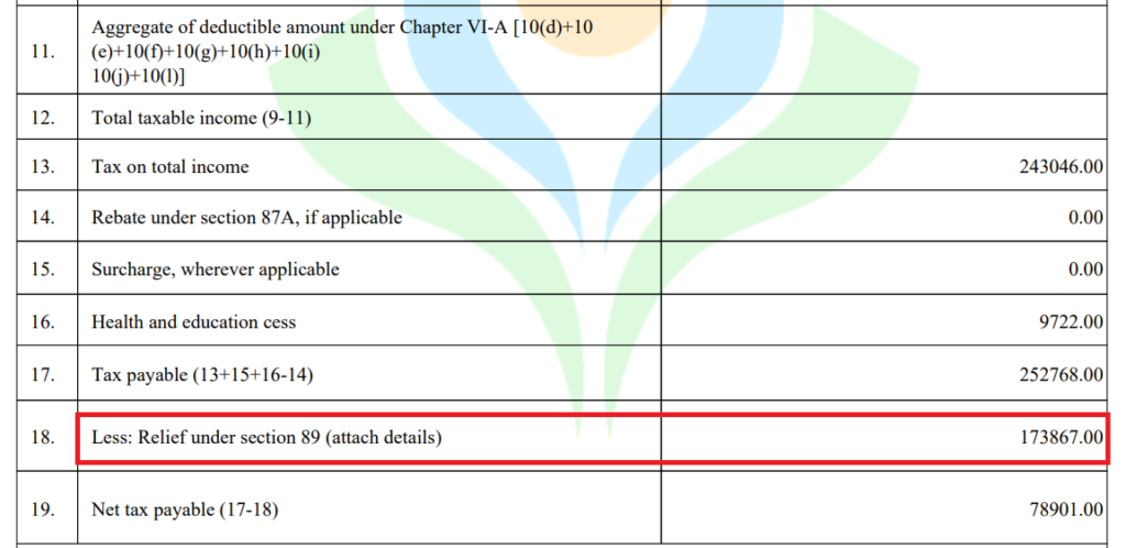 Form 16 - Relief u/s 89(1) for Salary Arrears
