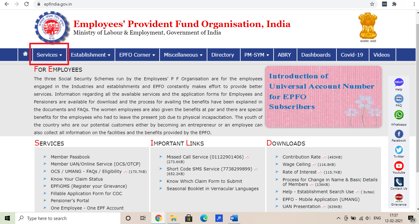 Employee Pension Scheme - Select Services from Homepage Dashboard