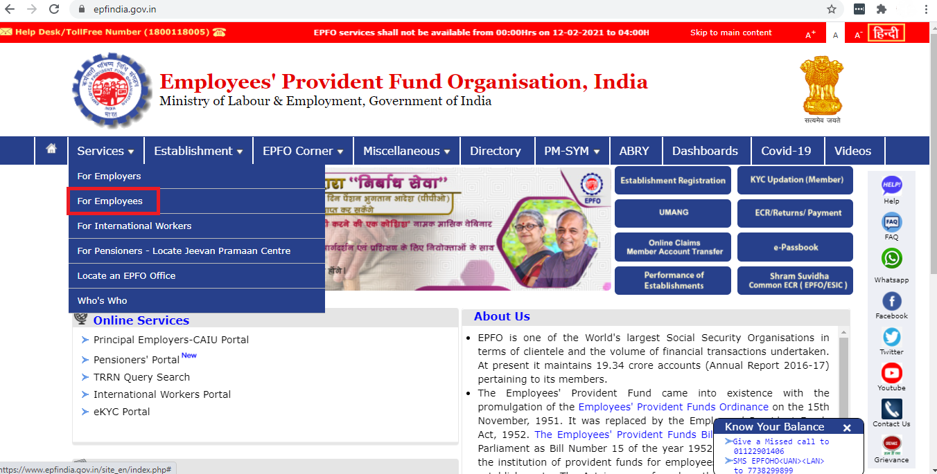 Employee Pension Scheme - Select 'For Employees'