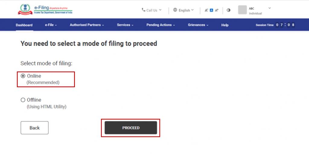 www.incometax.gov.in - File ITR online option