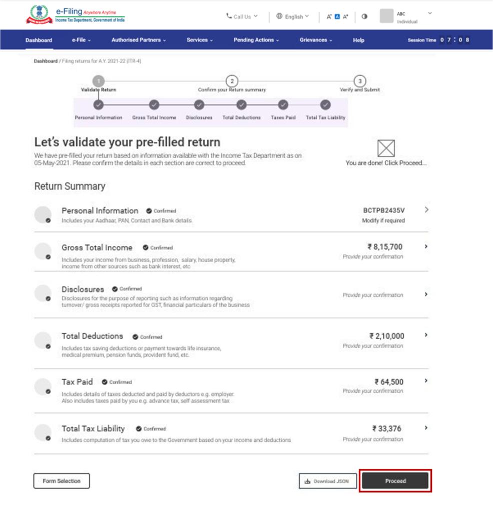 www.incometax.gov.in - Validate Prefilled Return