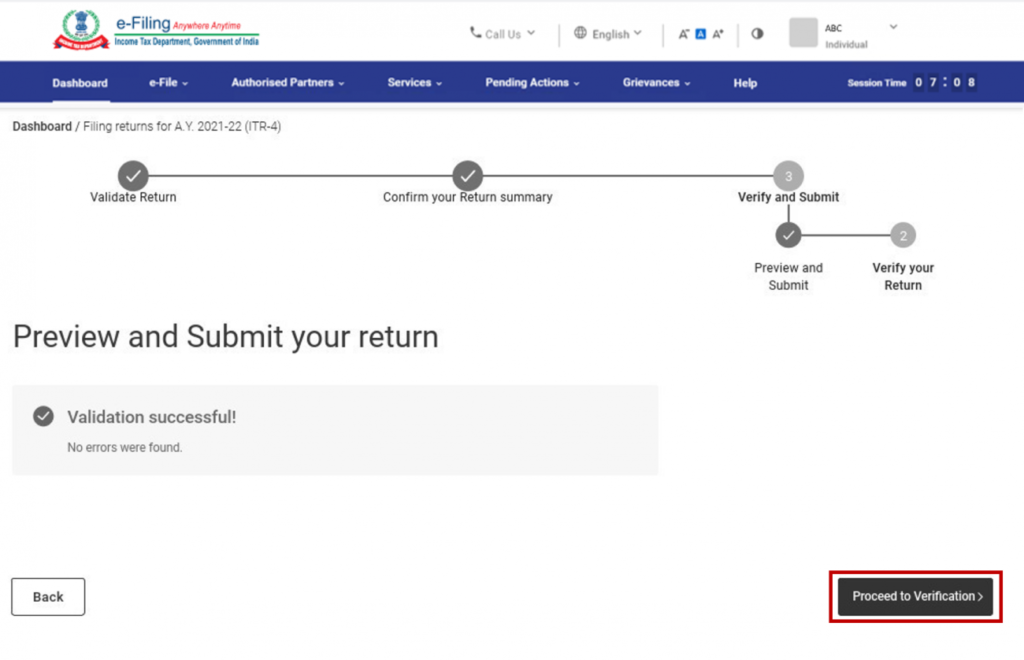 www.incometax.gov.in - Preview and Submit Return