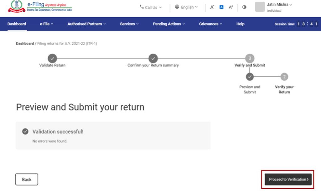 www.incometax.gov.in - Submit Return