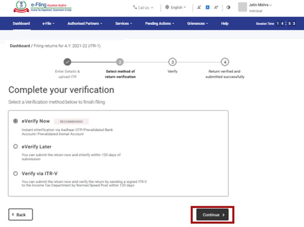 www.incometax.gov.in - Verification Procedure