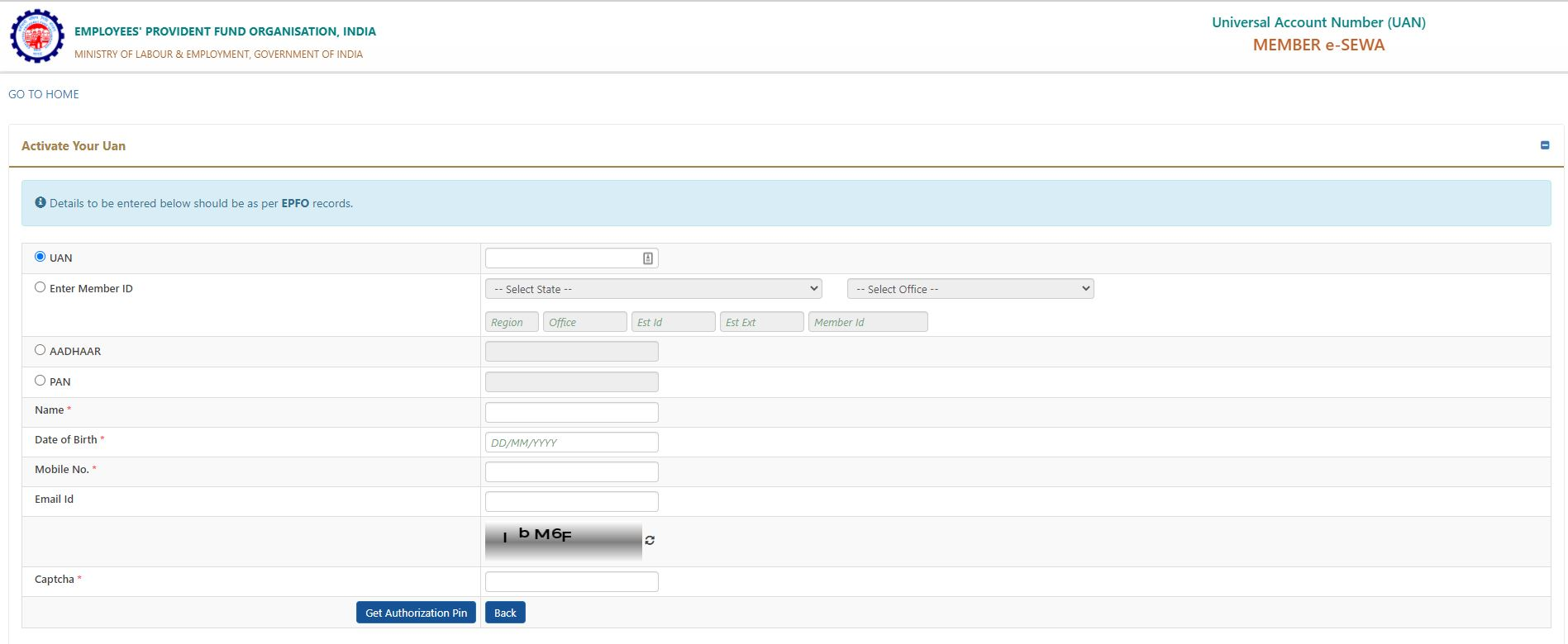 Universal Account Number Portal