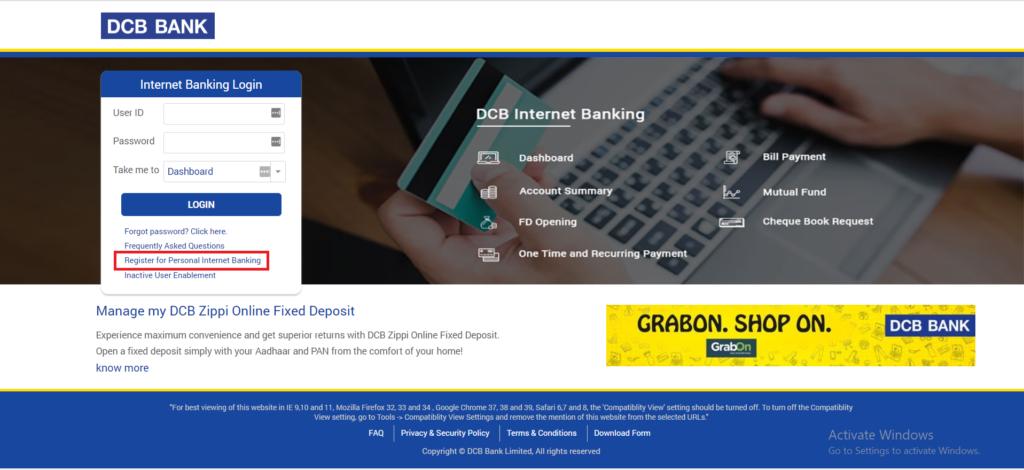 DCB-Bank-net-banking-register