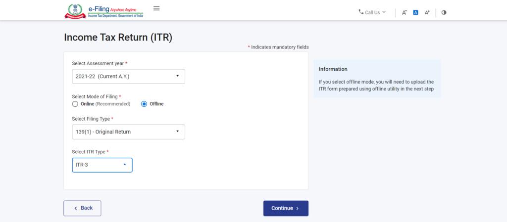 File ITR Using Offline Mode