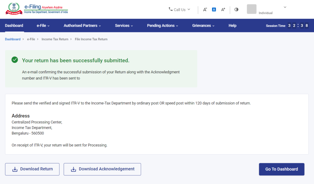 Message of Successful Submission of the ITR