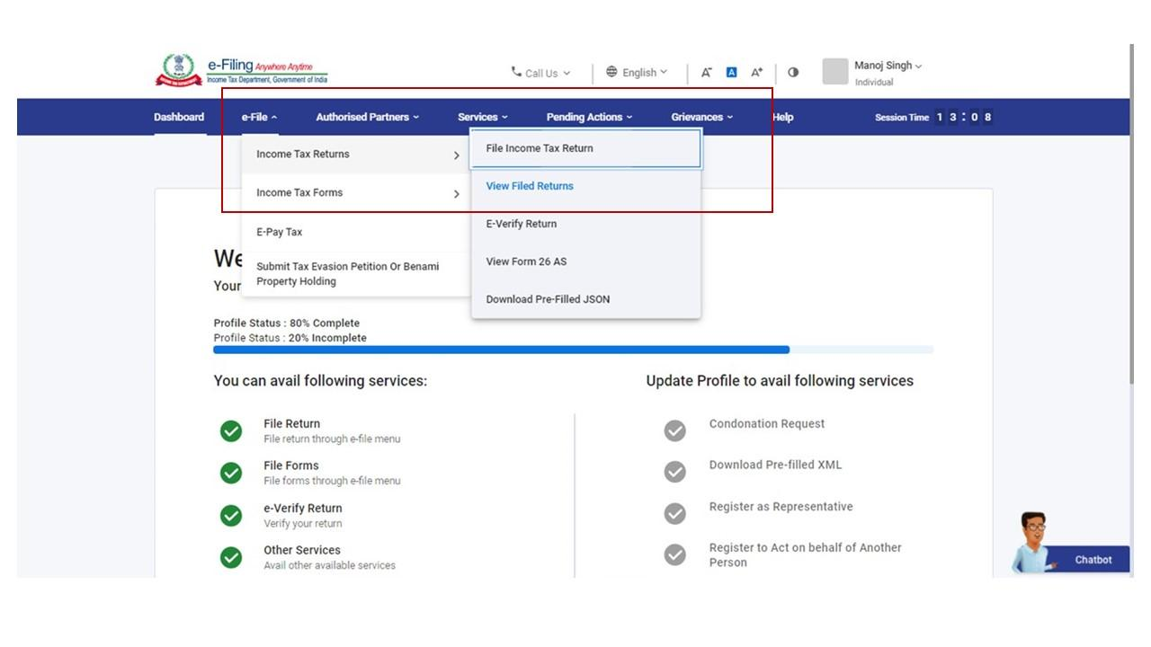 www.incometax.gov.in - View Filed Returns