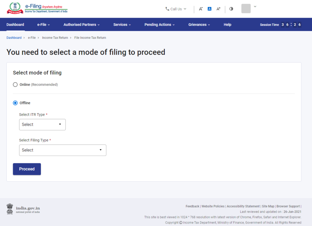 www.incometax.gov.in - Select Mode of Filing