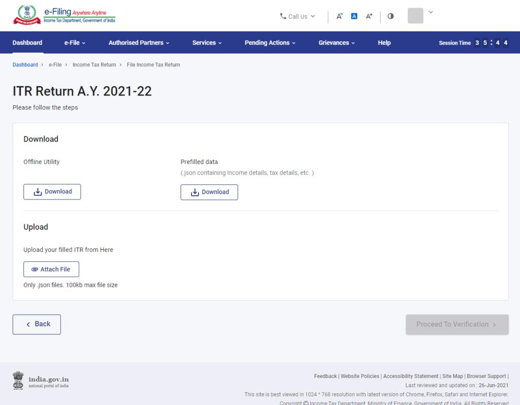www.incometax.gov.in - Download Prefilled JSON