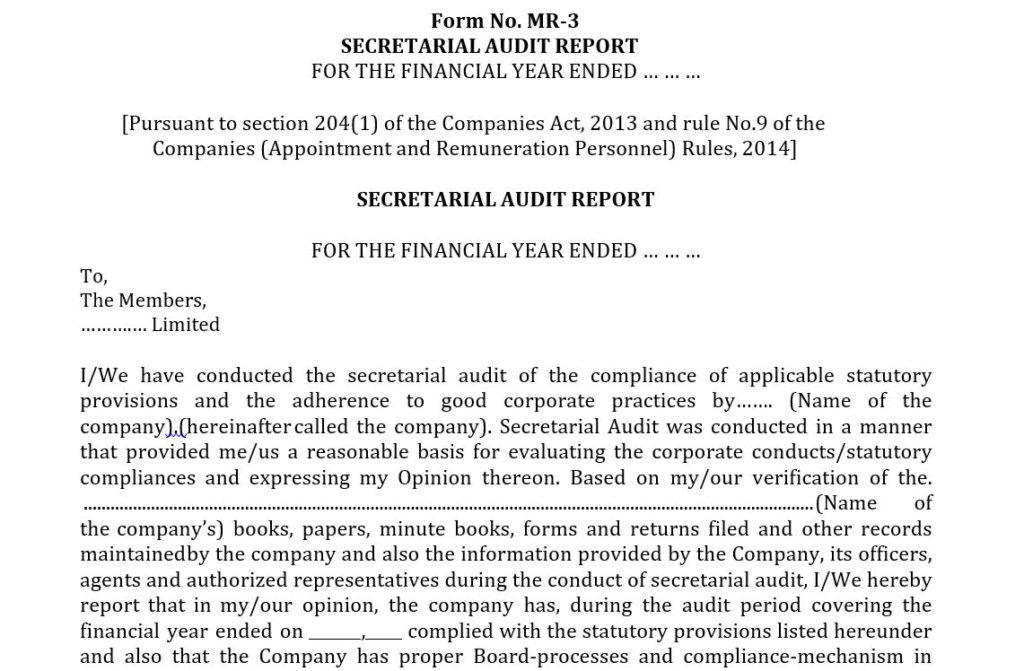 Format of Secretarial Audit Report in MR-3