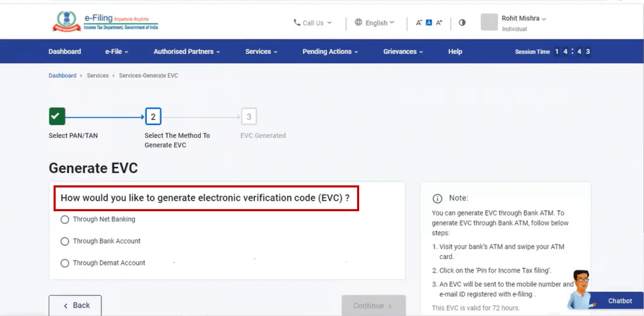 www.incometax.gov.in - Methods to Generate EVC