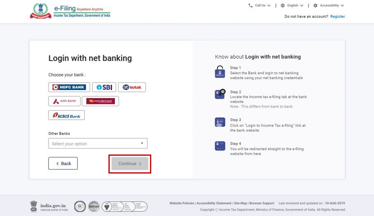 www.incometax.gov.in - Select Bank Name