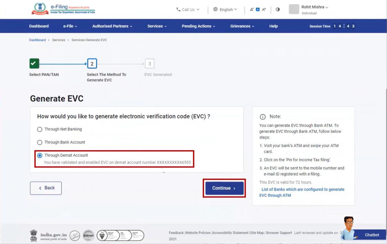 www.incometax.gov.in - Generate EVC via Demat Account
