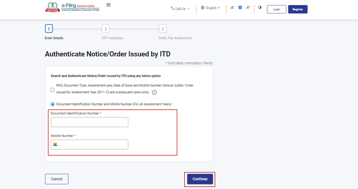 www.incometax.gov.in - Enter Document Identification and mobile number