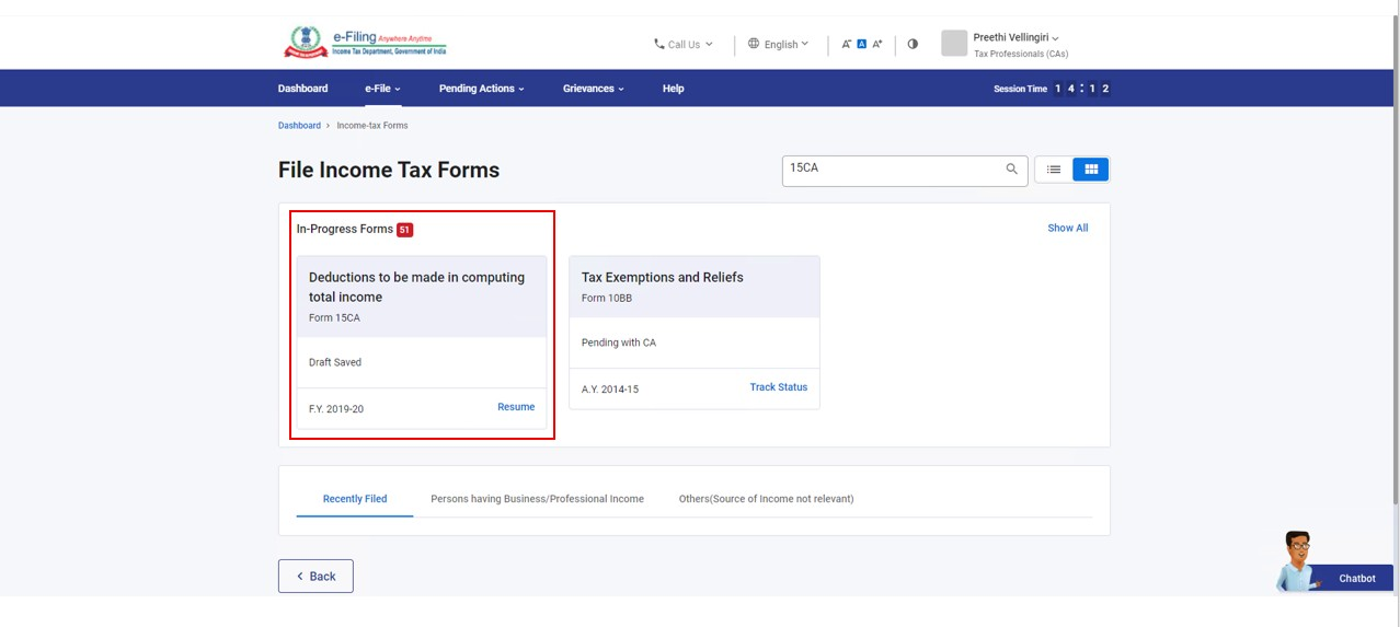 Search Form 15CA or 15CB