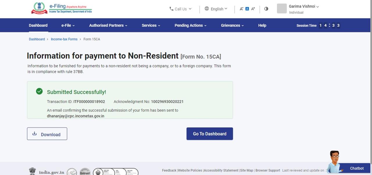 Successully Verify Form 15CA or 15CB