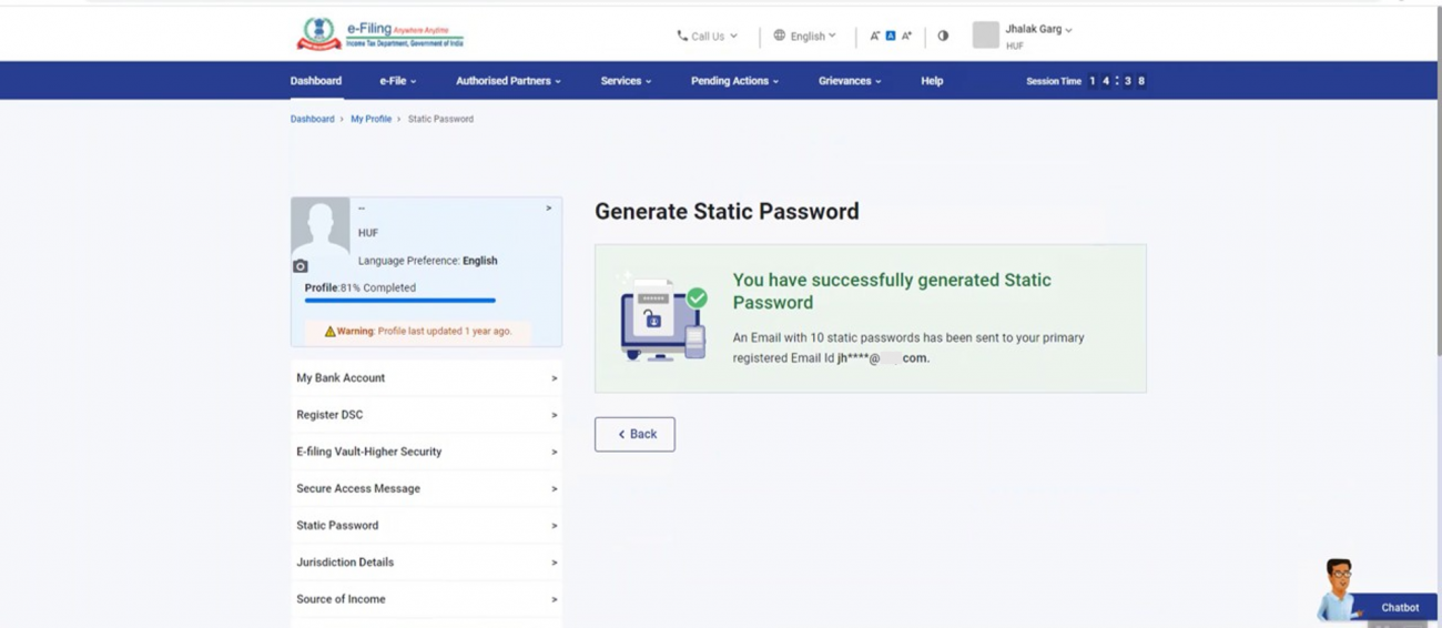 Successfully Generated Static Password